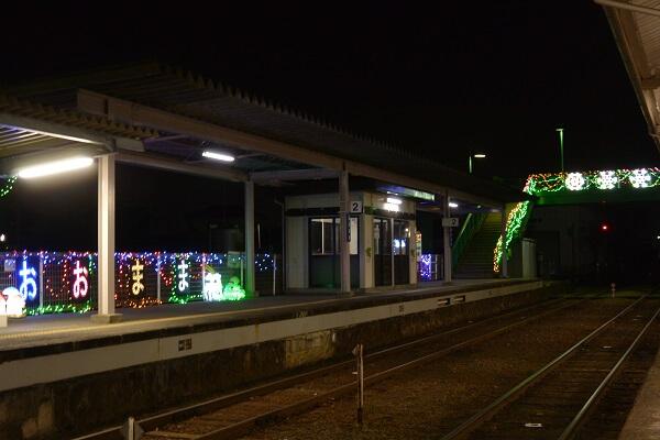 大間々駅のイルミネーション