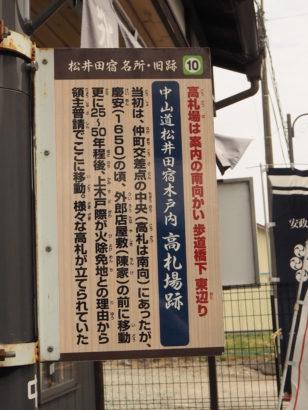 中山道松井田宿木戸内高札場跡 案内板