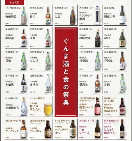 ぐんま酒と食の祭典 銘柄