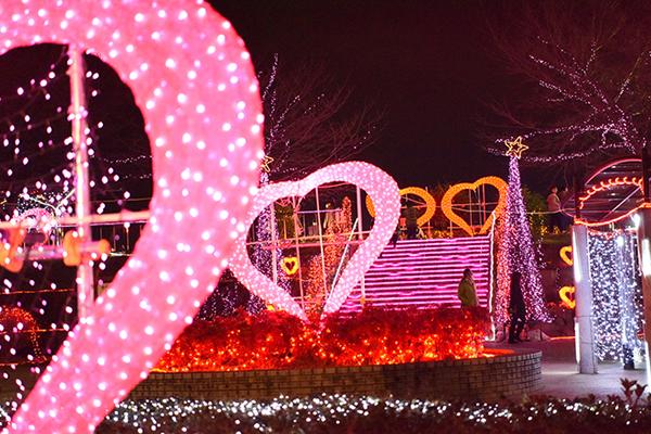 いせさきイルミネーション2019in華蔵寺ハートのオブジェ 群馬 クリスマス いせさきイルミネーション