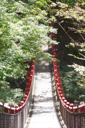 パワースポット 赤いつり橋 小中大滝