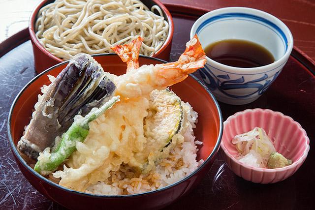 みやじま庵錦町店 大えび天丼(そば付)