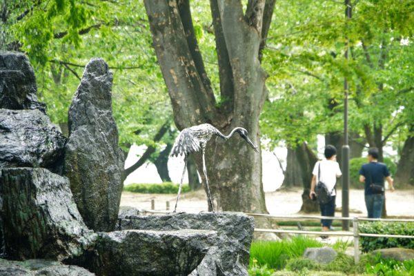 高崎公園 噴水 鶴のオブジェ