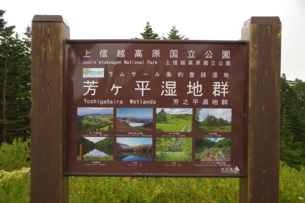 渋峠 渋峠ホテル 芳ヶ平湿地群案内看板